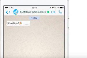 KLM é a primeira companhia aérea a ter uma conta verificada do WhatsApp Business