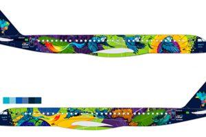Em homenagem à fauna e à flora, Azul pinta a aeronave mais colorida do Brazil
