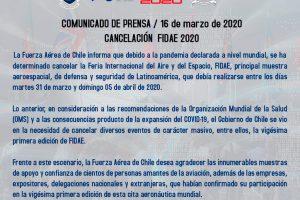Cancelación FIDAE 2020